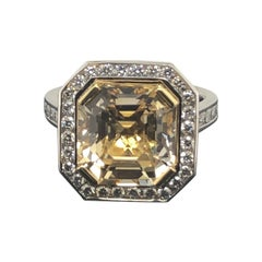 Certified Natural 7.36 Carat, Asscher Cut Yellow Sapphire and Diamond Dress Ring