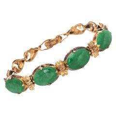 Certified Natural A Grade Jadeite Jade Bracelet Vintage 14k Gold Certificate