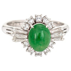 Certified Natural A Grade Jadeite Jade Ring Estate Platinum Jewelry