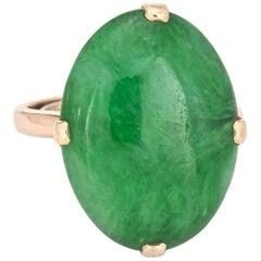 Certified Natural A Grade Jadeite Jade Ring Vintage 14 Karat Gold Cocktail 6