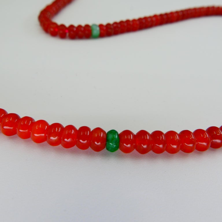 Women's Certified Natural Apple Green & Icy Red Jadeite Jade Bead Necklace, Masterpiece For Sale
