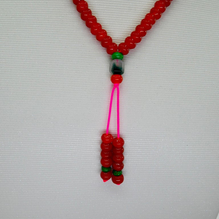 Certified Natural Apple Green & Icy Red Jadeite Jade Bead Necklace, Masterpiece For Sale 4