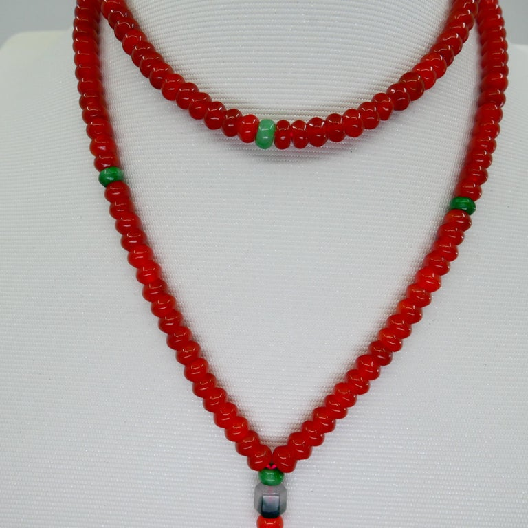 Certified Natural Apple Green & Icy Red Jadeite Jade Bead Necklace, Masterpiece For Sale 5