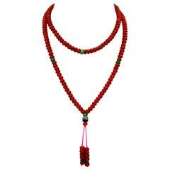 Certified Natural Apple Green & Icy Red Jadeite Jade Bead Necklace, Masterpiece
