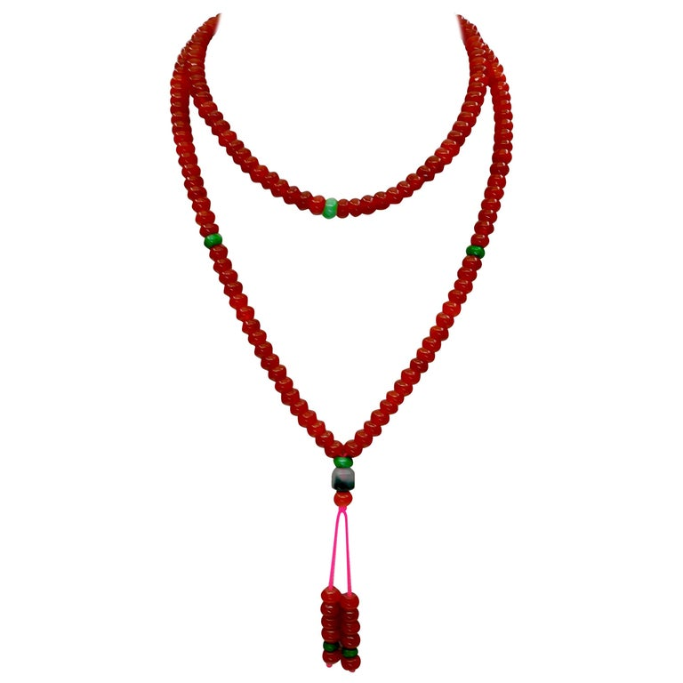 Certified Natural Apple Green & Icy Red Jadeite Jade Bead Necklace, Masterpiece For Sale