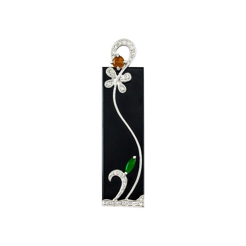 Certified Natural Black Jadeite Jade Designer Pendant