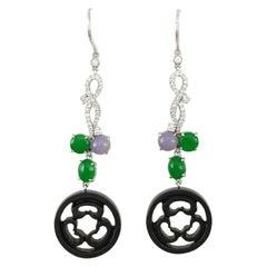 Certified Natural Black Jadeite Jade Drop Earrings