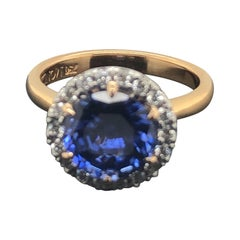 Certified Natural Blue Round Ceylonese Sapphire and Diamond Halo Engagement Ring