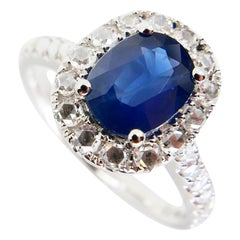 Certified Natural Blue Sapphire and Antique Rose Cut Diamond Cocktail Ring