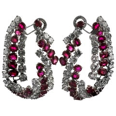 Certified Natural Burmese Ruby and Diamond Earrings, Harry Winston Jacques Timey
