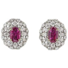 Certified Natural Burmese Ruby and Diamond Stud Earrings