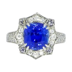 Certified Natural Ceylon Sapphire and Diamond Platinum Ring
