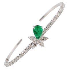 Certified Natural Colombian Emerald and White Diamond Bangle in 18K White Gold