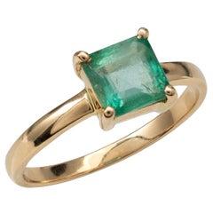 Certified Natural Columbian Emerald Solitaire Ring 18 Karat Yellow Gold