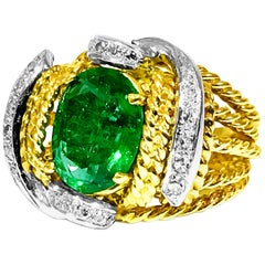 Certified Natural Emerald and Diamond Cocktail Ring
