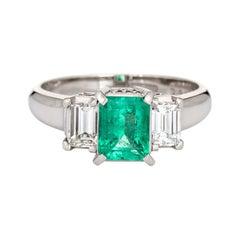 Certified Natural Emerald Diamond Ring Estate Platinum Gemstone Engagement