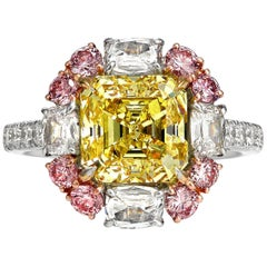 Certified Natural Fancy Intense Australian Argyle Yellow and Pink Diamond Ring