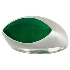 Certified Natural Fine Green Jade Marquise Ring
