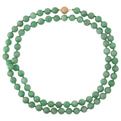 Certified Natural Green Jade Bead Necklace