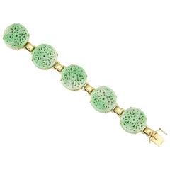 Certified Natural Green Jade Carved Medallion Bracelet