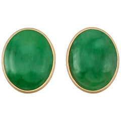 Certified Natural Green Jade Oval Cabochon Earrings
