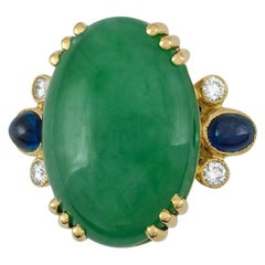 Certified Natural Green Jade, Sapphire and Diamond Cocktail Ring