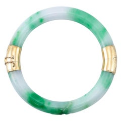 Certified Natural Green Jade Two-Section Estate Bangle Bracelet