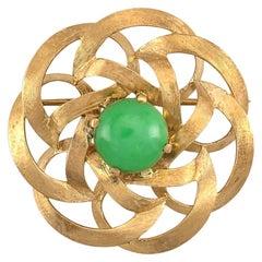 Certified Natural Green Jadeite & 14K Yellow Gold Estate Pin