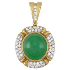 Certified Natural Green Jadeite Cabochon & Pave Diamond Pendant by Mason-Kay