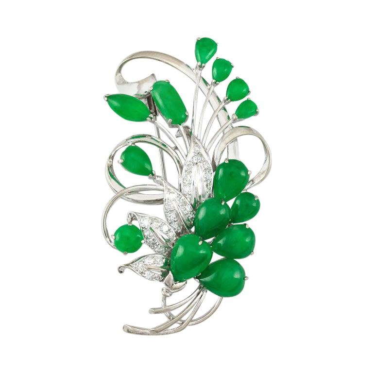 Certified Natural Green Jadeite Jade Cabochon and Diamond Estate Brooch