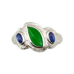 Certified Natural Green Jadeite Jade Designer Ring
