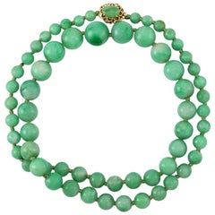 Certified Natural Green Jadeite Jade Estate Bead Necklace Strand