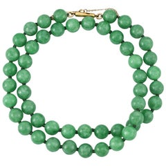 Certified Natural Green Jadeite Jade Estate Bead Strand