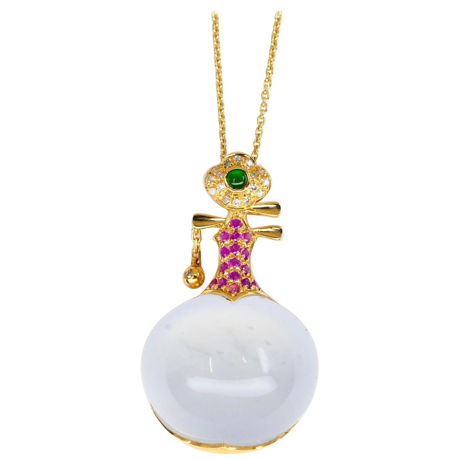 Certified Natural Icy & Imperial Jadeite Jade and Diamond Pendant, Musical Lute