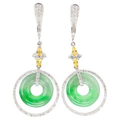 Certified Natural Icy Jadeite Jade and Diamond Drop Earrings, Apple Green Veins
