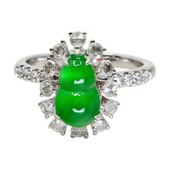 Certified Natural Imperial Jade Gourd & Diamond Cocktail Ring, Super Glow
