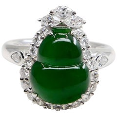 Certified Natural Jade Gourd & Diamond Cocktail Ring, Intense Green, Subtle Glow