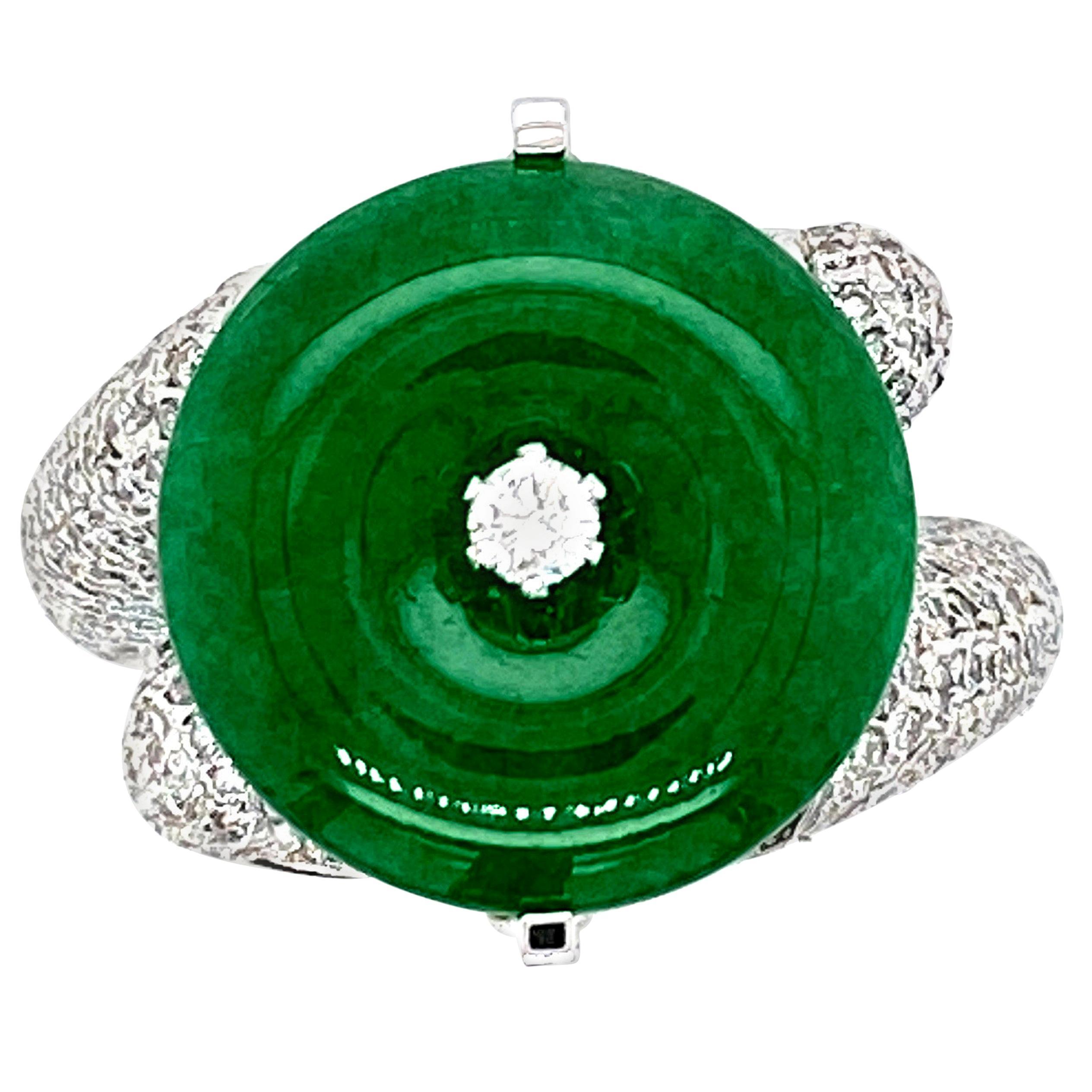 Certified Natural Jadeite and Diamond Engagement Ring in 18 Karat Gold