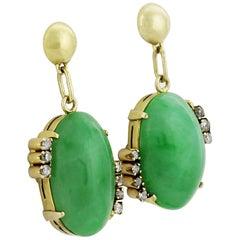 Certified Natural Jadeite Jade and Diamond drop earrings in 18 ct Gold, Vintage