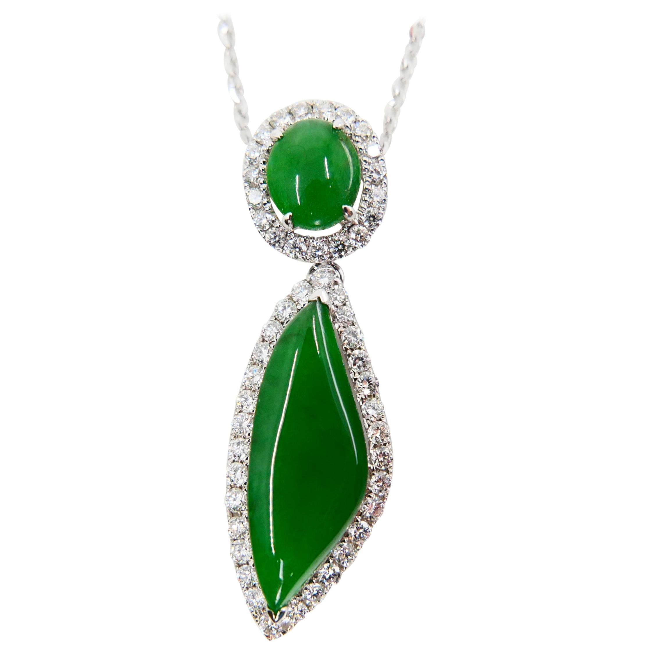 Certified Natural Jadeite Jade And Diamond Drop Pendant, Imperial Green Color