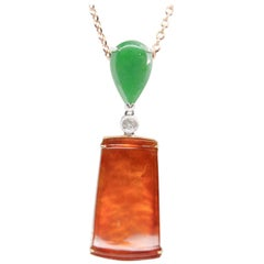 Certified Natural Jadeite Jade and Diamond Pendant Drop Necklace, 18 Karat Gold
