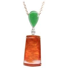 Certified Natural Jadeite Jade and Diamond Pendant Necklace, 18 Karat Rose Gold