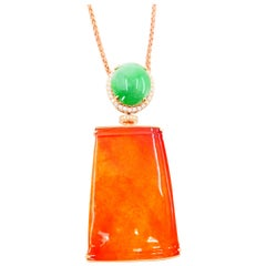 Certified Natural Jadeite Jade and Diamond Pendant Necklace Rose Gold Reversible