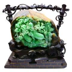 "Certified Natural Jadeite Jade Decoration ""Fruity Gourds"" circa 1930s Prosperity"