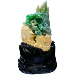 """Certified Natural Jadeite Jade Decoration, Titled """"My Beautiful Home Town"""""""