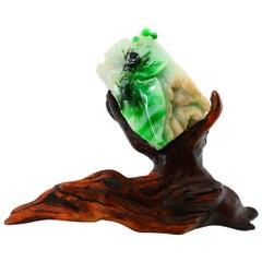 "Certified Natural Jadeite Jade Decoration, Titled ""Rich World"", circa 1911-1949"