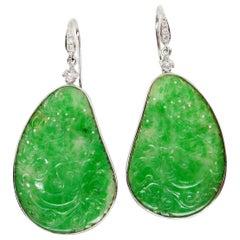 Certified Natural Jadeite Jade & Diamond Drop Earrings 18K Apple Green Color