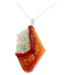 Certified Natural Jadeite Jade Diamond Pendant Necklace, Dragon Motif