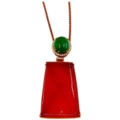 Certified Natural Jadeite Jade & Diamond Pendant Necklace Rose Gold & Reversible