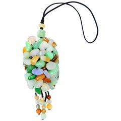 Certified Natural Jadeite Jade Drop Pendant Necklace, Handbag Charm, Apple Green